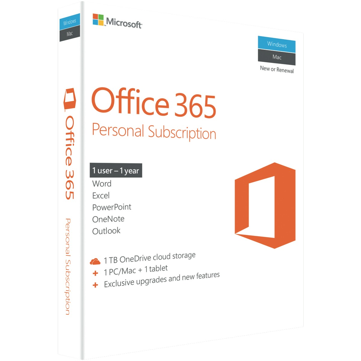 Microsoft Office 365 Personal Mac/Windows, No DVD Retail Box, 1